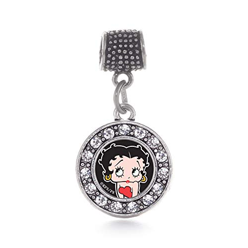Inspired Silver - Betty Boop Memory Charm for Women - Silver Circle Charm for Bracelet with Cubic Zirconia Jewelry (Boop Betty Pendant)