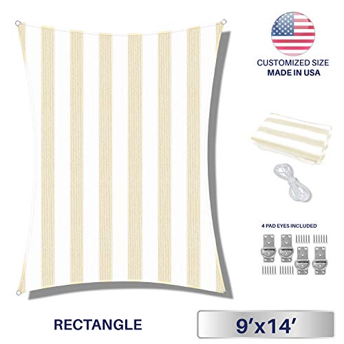 Windscreen4less Sun Shade Sail for Outdoor Patio Backyard UV Block Awning with Steel D-Rings 9ft x 14ft Beige White Wide Stripes Rectangle Included Free Pad Eyes – Custom Size