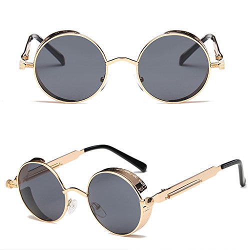 Itemap Fashion Men Women Steampunk Sunglasses Designer Vintage Metal Round Eyeglass New (Gold+Black - Frames Oakley Half Rim