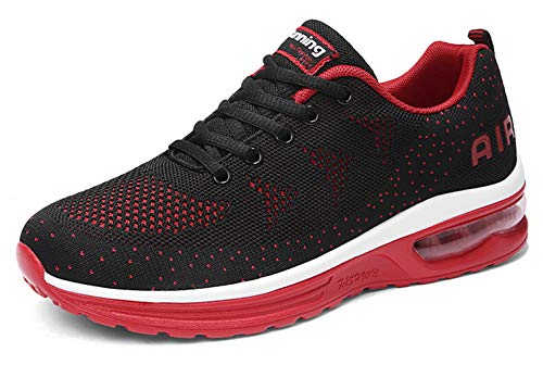 men air cushion sport trail running shoes for 2019 summer flyknit fashion sneakers breathable comfort youth boys tennis shoes gym workout athletic walking shoe Black Size 9.5 (835-Blackred-43)