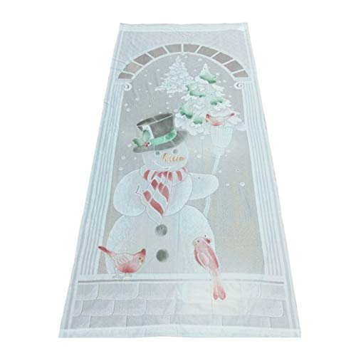 Fushkong Christmas Tree Lace Curtain Rod Pocket Window Treatment Panel Holiday Decor