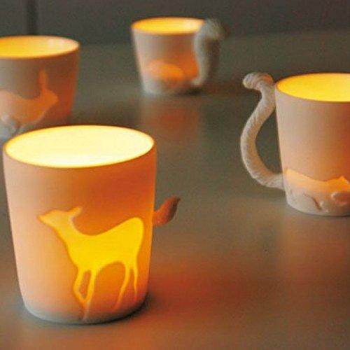 KINTO 8.7 inch Nonslip Slim Teak Tray and Four MUGTAIL Squirrel Porcelain Mug, Set of 5 by KitcheNova (Image #3)