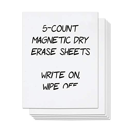 Magnetic Dry Erase Sheets - 5 Count White Magnet Sheets, 9 x 12 inches - Die Cut Rubber Magnets