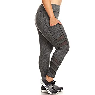 ShoSho Womens Plus Size Activewear Sports Leggings Sculpting Yoga Pants W/Pockets & Mesh Panels Dark Heather Grey 1X