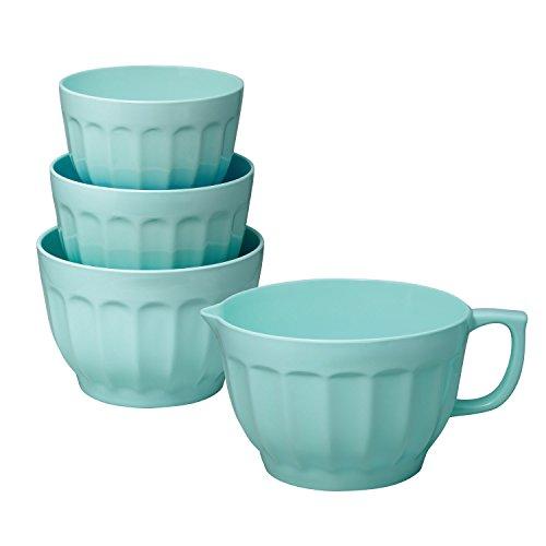 Gourmet Art 4-Piece Latte Melamine Mixing Bowl, Blue