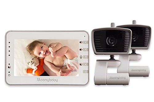 MoonyBaby 4.3 Inches LCD Video Baby Monitor TWO CAMERAS PACK with Automatic Night Vision & Temperature Monitoring, Two Way Talkback System (MANUALLY Rotated Camera)