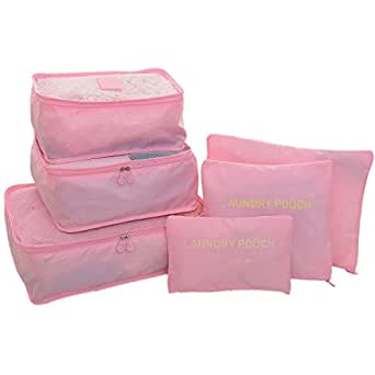 HOMEE Breathable Packing Cube Travel Luggage Organizers(3 Travel Cubes + 3 Pouches) (Pink)