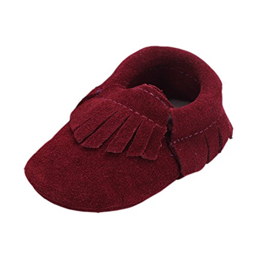 Price comparison product image Unisex Baby Suede Genuine Leather Soft Sole Moccasins Boots Crib Shoes Wine Red 6-12 Months