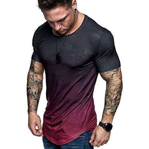 Men's Athletic T Shirt, Kiasebu Men's Sportstyle Gradient Short Sleeve T-Shirt Blouse Summer Tee Tops - Mens T-shirt Alive