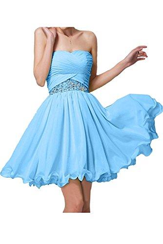 Brautjungfernkleider Mini Chiffon La Blau Partykleider Braut mia Elegant Kurz Kleider Abendkleider Blau Hell Jugendweihe qqAH8Rx6