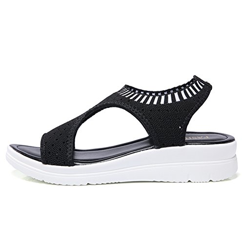 Sandali Open Leggeri Slip Sandals Comfort On Casual Neri Traspirante Women Hkr Mesh Piedi A Piatti Toe xq6vX0Aa