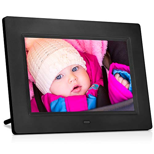 (MRQ 7 Inch Digital Photo Frame Play Photos with Slideshow, Full HD IPS Display 180° View Angle Digital Picture Frame with MP3, Calendar, Alarm, Remote Control Function, Support USB and SD Card)