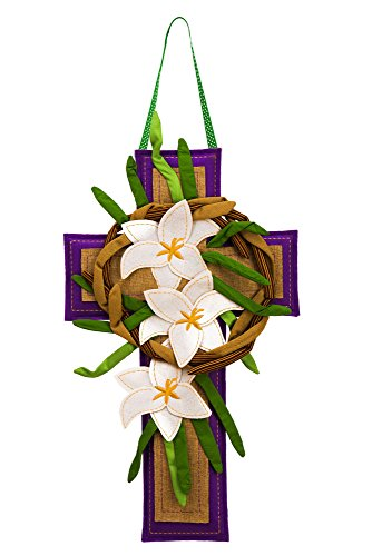 Evergreen Flag Easter Cross Burlap Door Decor