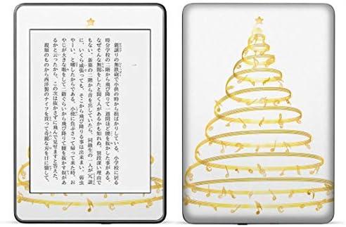 igsticker kindle paperwhite 第4世代 専用スキンシール キンドル ペーパーホワイト タブレット 電子書籍 裏表2枚セット カバー 保護 フィルム ステッカー 015607 ゴールド ツリー クリスマス
