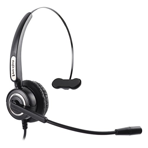 VoiceJoy USB Headset Call Center Noise Cancelling Corded Monaural Headset Headphone with Mic Microphone - Cord with USB Plug, Volume Control and Mute Switch for Computer,Laptops,Chat, Skype, Webinar