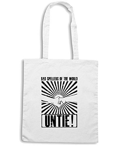 T-Shirtshock - Bolsa para la compra FUN0682 Bad Spellers of the World Untie Blanco