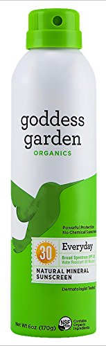Goddess Garden Organics SPF 30 Everyday Natural Mineral Sunscreen Continuous Spray for Sensitive Skin (6 oz. Bottle) Reef Safe, Water Resistant, Vegan, Leaping Bunny Certified Cruelty-Free, (Goddess Garden Natural Sunscreen)