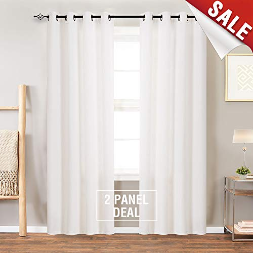 (Burlap Linen Textured Curtains for Living Room 84 inch Length Light Filtering Flax Window Curtain Panels for Bedroom (2 Panels, Ivory))