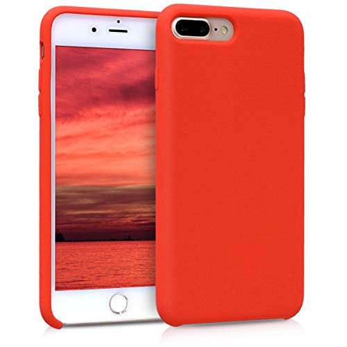 (kwmobile TPU Silicone Case for Apple iPhone 7 Plus / 8 Plus - Soft Flexible Rubber Protective Cover - Neon Orange)