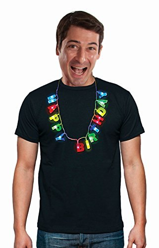 Happy Birthday Multicolored Light Up LED Necklace with Light-up Letters - 3 Lighting Modes - Wearable 21st Birthday Gift for All Ages