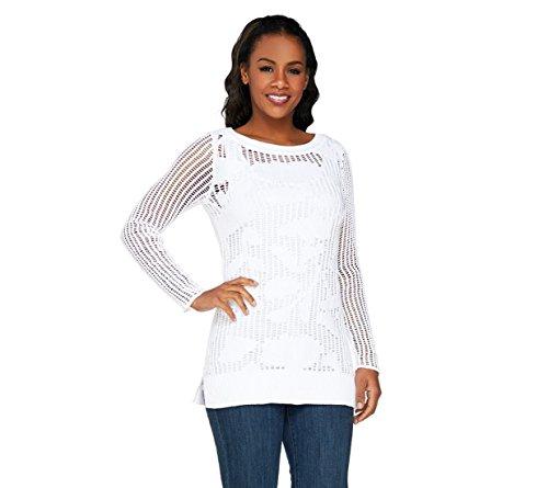 Liz Claiborne NY Floral Open Stitch Pullover Sweater A263434, White, 2X