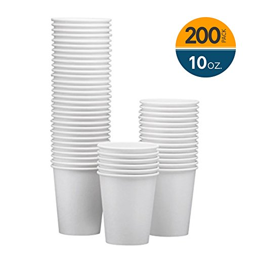 NYHI 200-Pack 10oz White Paper Disposable Cups - Hot/Cold Beverage Drinking Cup for Water, Juice, Coffee or Tea - Ideal for Water Coolers, Party, or Coffee On the Go' (White Paper Hot Cup)