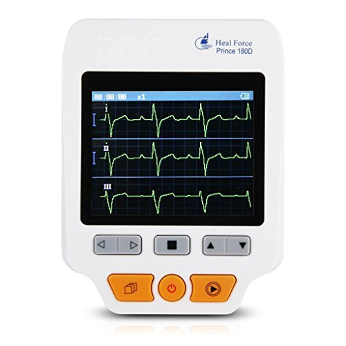 Heal Force 180D Color Portable ECG Monitor With ECG lead cables And 50pcs ECG ()
