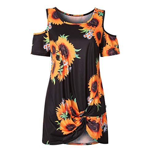 〓COOlCCI〓Women's Sunflower Summer Cold Shoulder Tunic Top Swing T-Shirt Loose Dress Midi Dress Mini Dress Black