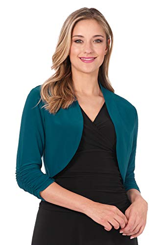 Rekucci Women's Chic Soft Knit Stretch Bolero Shrug with Ruched Sleeves (X-Small,Teal)
