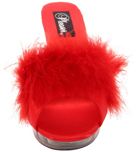 Pleaser Womens Lip-101-8/R/C Slipper Red Marabou Fur/Clear irVCR6sm