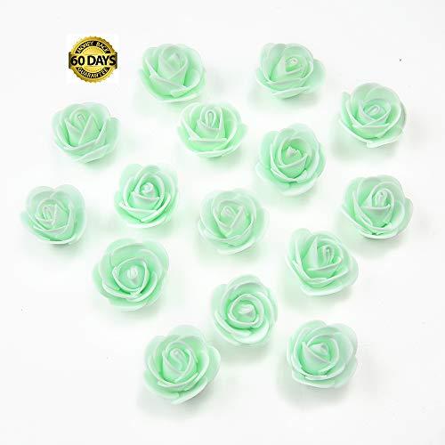 - Silk Flowers in Bulk Wholesale Mini PE Foam Rose Flower Head Artificial Rose Flowers Handmade DIY Wedding Home Decoration Festive & Party Supplies 50pcs/lot 3cm (Mint Green)