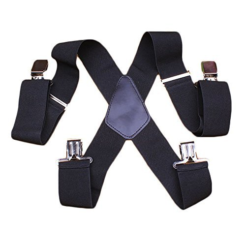 "Laquest X Shape Suspenders 2"" Wide Braces Elastic and Adjustable Mens"