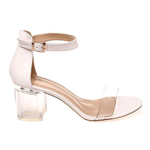La Modeuse , Sandales vernis à talon carré transparent Amazon.fr  Chaussures et Sacs