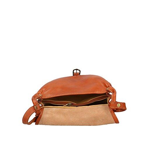 Chicca Borse Hombre de la bolsa de equipaje de todos bolsa con correa para el hombro in echtem Leder Made in Italy 30x24x12 Cm Cuero