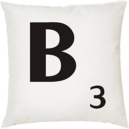 Cojines con la Letra B imitación fichas de Scrabble o apalabrados. Medida 45X45 cm. Color Blanco. Solo Funda: Amazon.es: Hogar