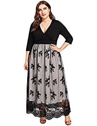 60fefbb622 Women s Plus Size Sequin 3 4 Sleeves Evening Gown Party Long Maxi Dress