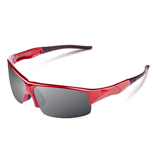 Ewin E29 Polarized Sports Sunglasses for Men Women Golf Driving Fishing(Red&Black)