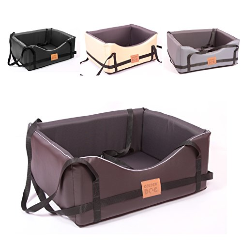 Hundeautositz Hundesitz Luxus Hundebett Kunst Leder Autokörbchen Autositz M L (L ( 65x55 cm ), dunkelbraun-dunkelgrau)