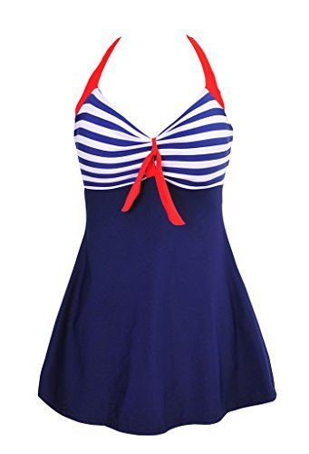 Morryoddy Women's Tankini Swimsuit One Piece Skirtini Cover Up NavyBlue US 14
