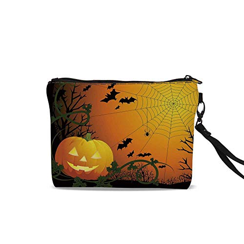 Spider Web Portable Travel Makeup Cosmetic Bags,Halloween Themed Composition with Pumpkin Leaves Trees Web and Bats Decorative For Women Girl,9