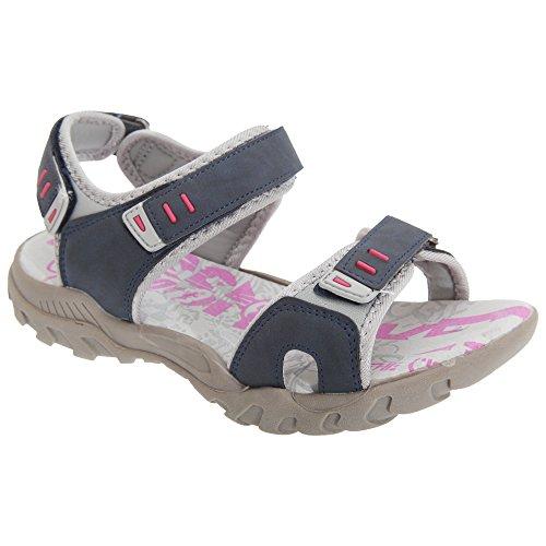 PDQ- Sandalias deportivas con tiras de velcro para mujer Azul marino/ Gris