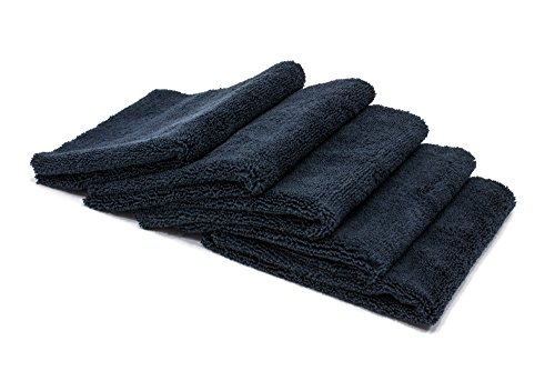 Autofiber Zeroedge Detailing Towel (Pack of 5) Edgeless Microfiber Polishing, Buffing, Window, Glass, Waterless, Rinseless, Car Wash Towels, 360 GSM (Black)