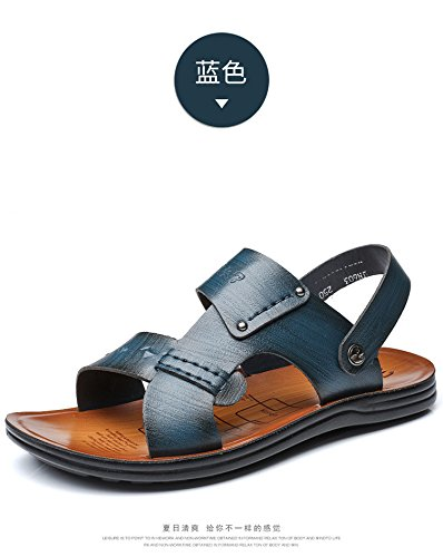 Sandali di estate degli uomini di estate della primavera di estate dei sandali di modo degli uomini di spiaggia, blu, UK = 6, EU = 39