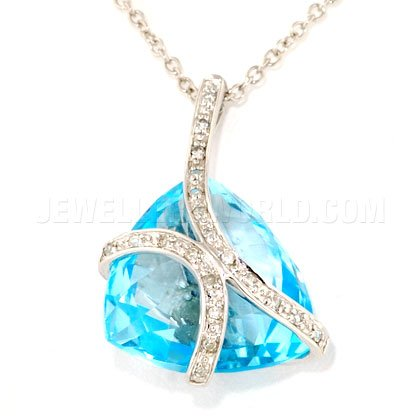 & topaze bleue et diamant Or blanc 9 carats avec pendentif en forme de bulle Trillion