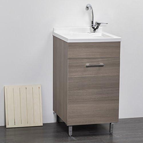 45/_x/_50/_cm ASSE lavapanni Trioplast Lavatoio Lavanderia Mobile in Legno Olmo Vasca Resistente agli acidi