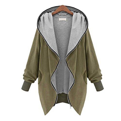 [Jacket,Beautyvan New Womens Zipper Hoodie Kapuzen Jacket Parka Trench Windbreaker (XL, Khaki)] (Difference Between Fashion Jewellery And Costume Jewellery)