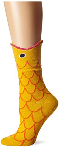 K. Bell Women's Wide Mouth Animal Novelty Crew Sock, Gold Fish, 9-11 Women Fish
