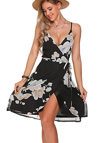 Floral Sleeveless Shorts (OURS Women's Summer Sexy V Neck Spaghetti Strap Sleeveless Floral Chiffon Short Wrap Dress (XL, Black))