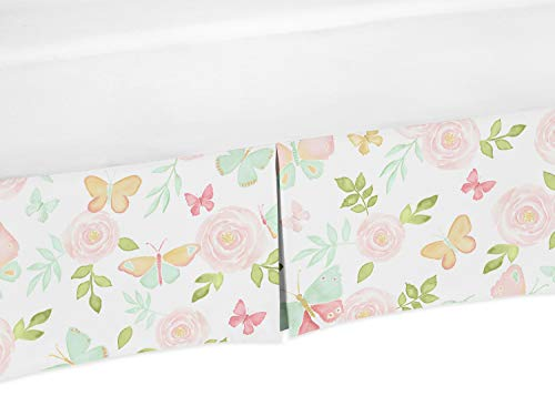 Sweet Jojo Designs Blush Pink, Mint and White Pleated Twin Bed Skirt Dust Ruffle for Watercolor Butterfly Floral Collection