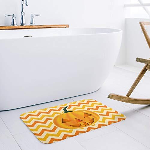Festival Doormat,Halloween Pumpkin Lantern Orange Chevron,Decorative Felt Floor Mat with Non-Skid Backing,Fit for Home Indoor,Super Absorbent Rugs(20 x 31.5 Inch) -